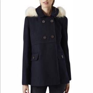 Topshop Navy Faux Fur Hooded Jacket